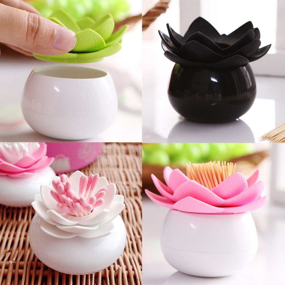 S M Cotton Bud Holder Flower Cotton Swab Box , Base Room Decorate / Lotus Toothpicks Holder Toothpick Case