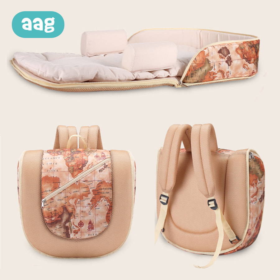AAG Multi-function Portable Baby Cribs Detachable Mummy Bag Double Shoulder Backpack Baby Crib Diaper Change Baby Travel Bed 40