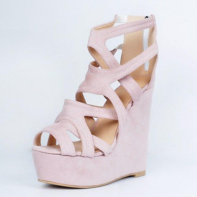 Light Pink Wedge High Heels Comfortable Ladies Sandals Women Platform Open  Toe Summer Shoes Women Shoes Size 12 be70668ded