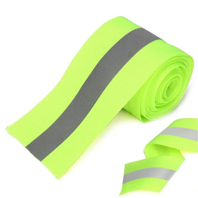 New Hot Silver Reflective Tape Safty Strip Sew on Lime Synth Fabric 3 Meters Apparel Sewing Fabric Supplies Accessories