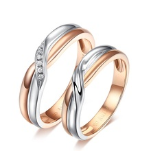 18K Two-Tone Gold Diamond Couple Ring Set Wedding Engagement Twisted Band Diamond Jewelry Engraving Free DHL Shipping