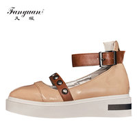 Fanyuan Italian Show Brand Women Casual Shoes Mixed Ankle Wrap Women's Creepers Platform Shoes Rivet Buckle Lady Flat Footwear