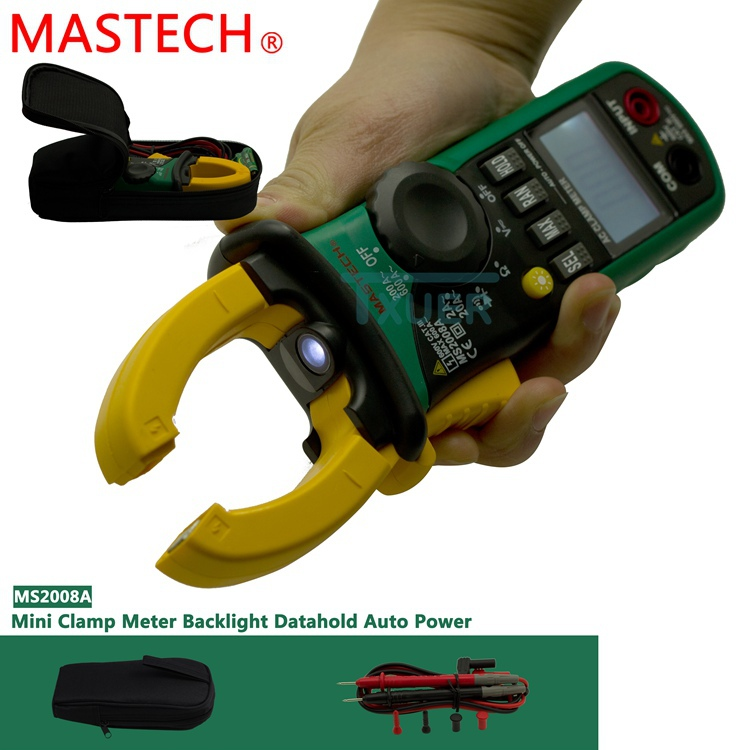 MASTECH MS2008A Auto Range Digital AC Clamp Meter Ammeter Voltmeter Ohmmeter with LCD Backlight mastech ms2008a auto range digital ac clamp meter ammeter voltmeter ohmmeter with lcd backlight
