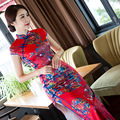 TIC-TEC chinese traditional dress women vintage print cheongsam long qipao oriental dresses elegant formal evening clothes P2942