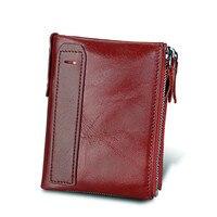 Hot 2017 New Vintage Genuine Leather Women Wallets Female Bifold Women S Wallet Double Zipper Design