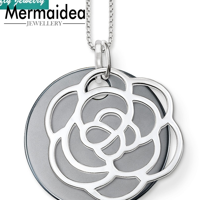 Rose Flower Ornament Black Disc Pendants Necklaces Trendy Style 925 Sterling Silver Gift Cool Brand Fashion Jewelry Women