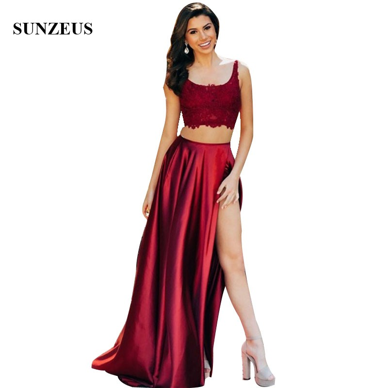 Wine Red   Prom     Dresses   Appliques Lace Corset Sexy Crop Top Party Gowns Women Long   Dress   With High Slit