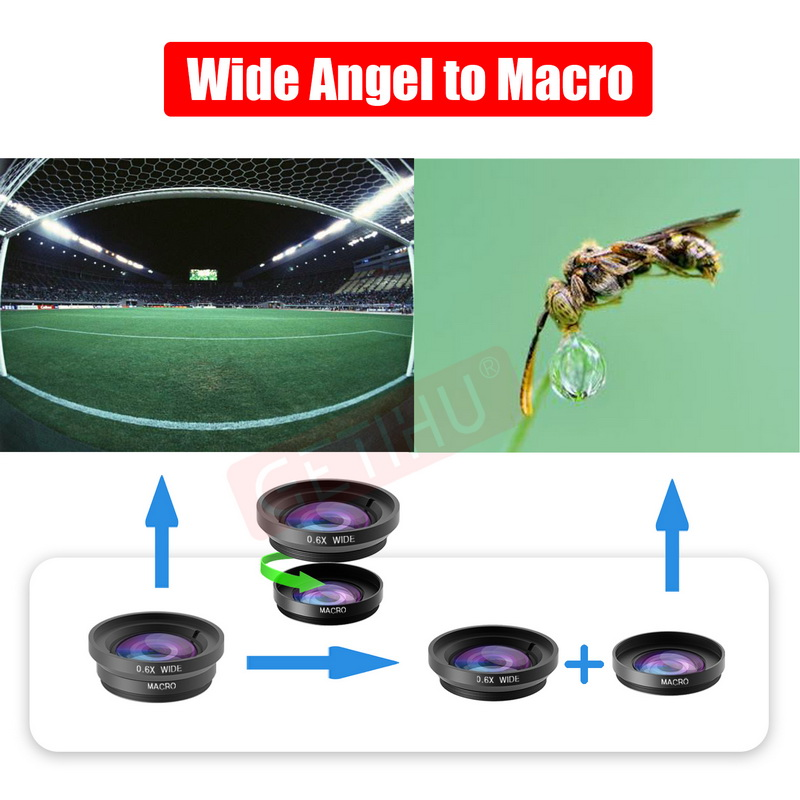 Universal Fisheye Lens 3 in 1 Mobile Phone Clip Lenses Fish Eye Wide Angle Macro Camera Lens for Smartphone iPhone 6 Microscope 8