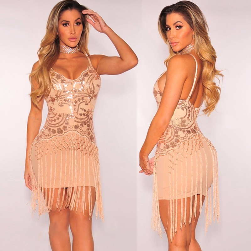 Feditch Sexy Sequin Dress Women Sexy V Neck Mini Women Dress Elegant Fringe  Tassels Fashion Bodycon Dress Party Lady Vestidos-in Dresses from Women s  ... 509187a91a52