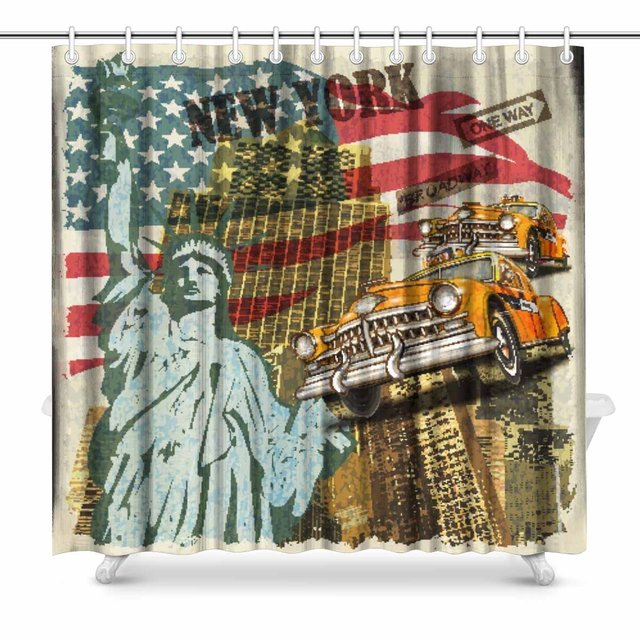 Aplysia New York Vintage Bathroom Shower Curtain Accessories 72w X 72l Inches Extra Long