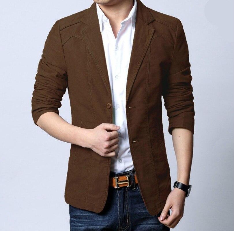 Fashion Mens Korean Slim Fit Cotton Casual Blazer Suit Jacket Plus Size S-5XL Male Formal Business Blazers Mens Coat Wedding