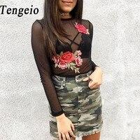Tengeio Mesh למעלה Sheer רקמה פרחונית אופנה שירט נשים סקסיות לראות דרך טיז עליון יבול שרוול ארוך חולצה קיץ 630