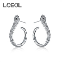 LCEOL Brand Jewelry Mini Snake Earring S925 Stud Tiny CZ Diamonds Pave Setting White Gold Color