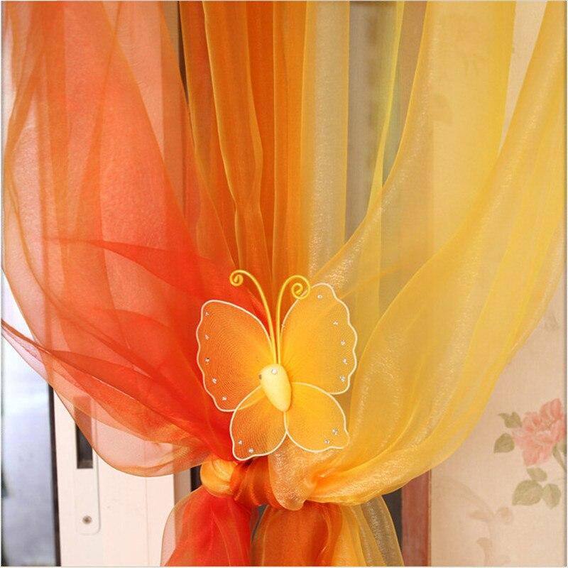 Nueva moda 1 piezas 100*270 cm cortina de tratamiento de ventana transparente cortinas de gasa 3 colores 150 cm x 180 cm Panel transparente Voile ventana cortina habitación Floral tul bufandas cortinas