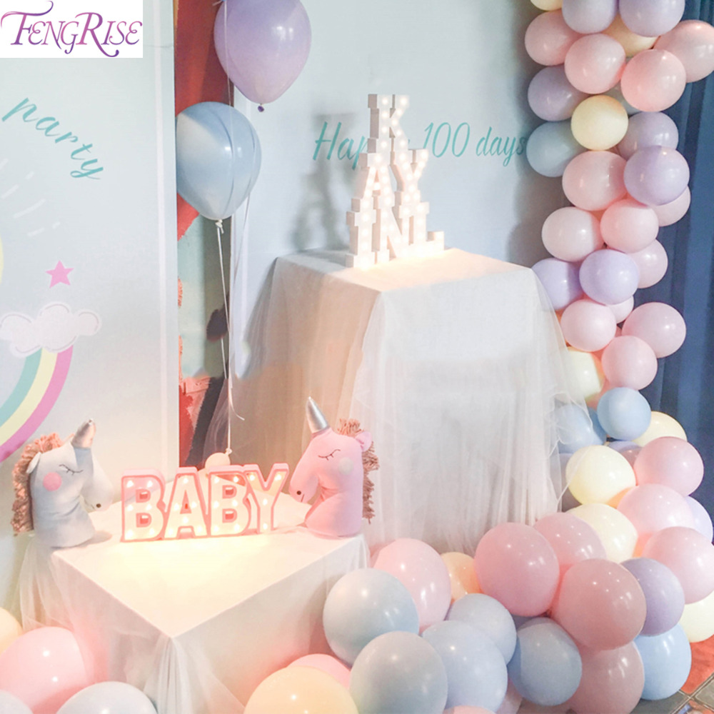 FENGRISE Macaron Balloon Birthday Child Ballons Accessories Balon Helium Balloon Baby Shower Big Baloon Party Decorations in Ballons Accessories from Home Garden