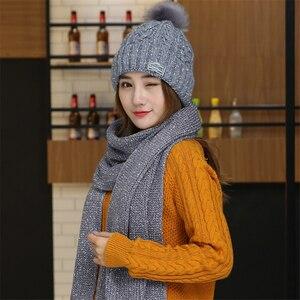 Image 4 - Chapeaux en velours pour femme avec écharpe, bonnet en laine, chaude, couvre oreilles, tricoté, mignon, ensemble de 2, hiver 2019