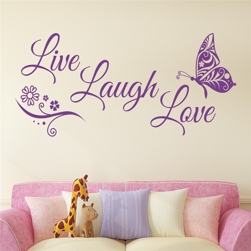 T07002 Text indexing language Live Laugh Love Butterfly Flower Wall Art Decal Vinyl Wall Stickers for Living Room Home Decor