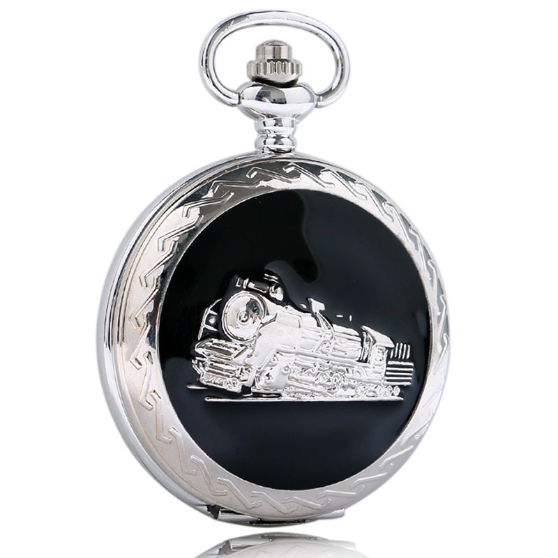 Retro Silver Train Design Unisex Pocket Watch Steampunk Cool Pendant Clock with 30cm Pocket Watch Best Gift Drop Shipping button design tee with pocket