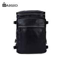 Baigio Men Backpack 100 Genuine Leather Men S Travel Bags Laptop Backpack Students School Leather Bag