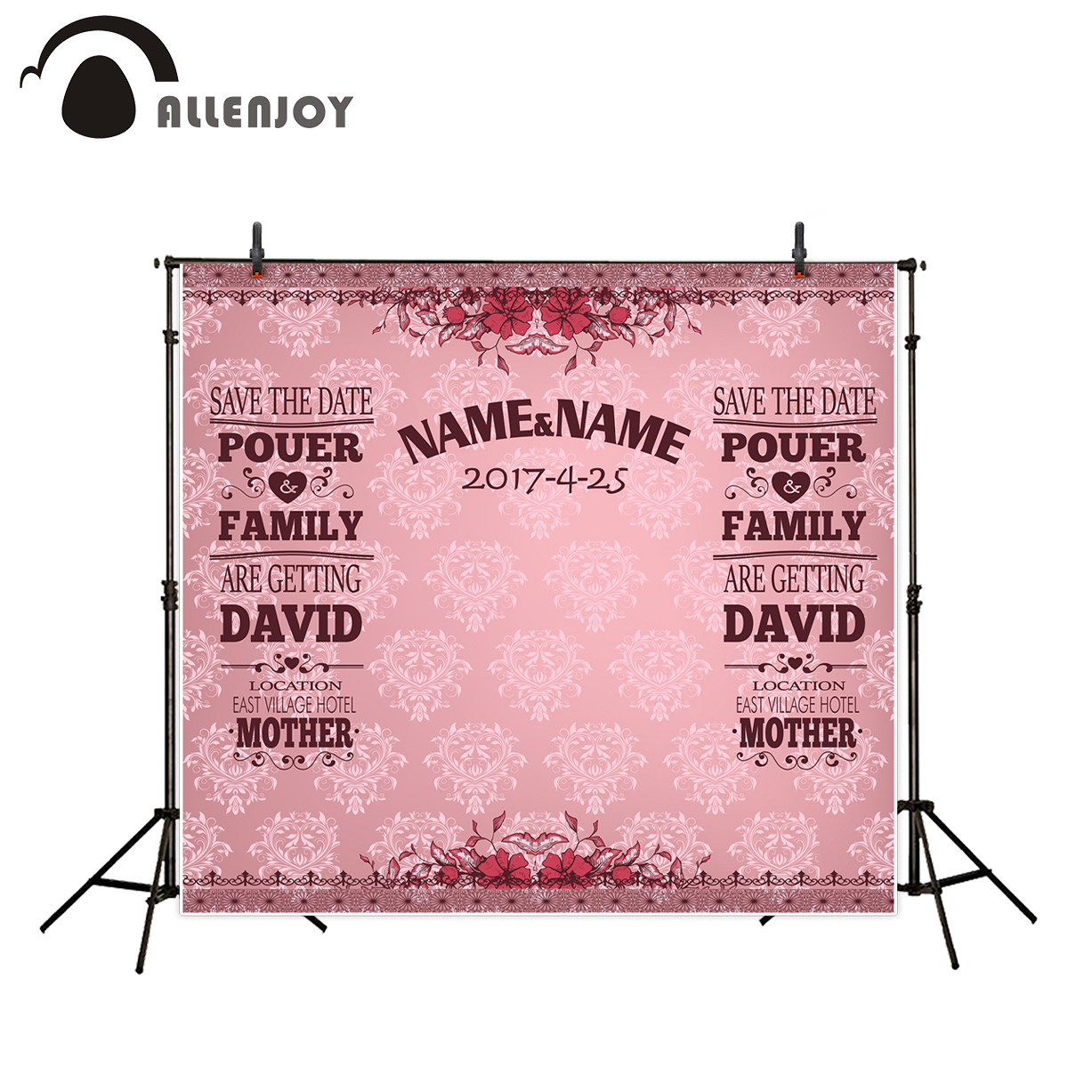 Allenjoy vinyl backdrops for photography damask pattern custom pink romantic love sweet celebration 300*200cm(10ft*6.5ft) 200 300cm 6 5 10ft studio backdrop for alentine s day vinyl custom photography letter combinations romantic colorful for youth
