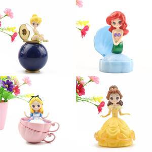 Image 3 - Akcja Disney księżniczka rysunek zabawki 4 sztuk/zestaw tajemniczy Gashapon księżniczka Alice ARIEL DAZZLES BELLE skręcone jajka zabawki...