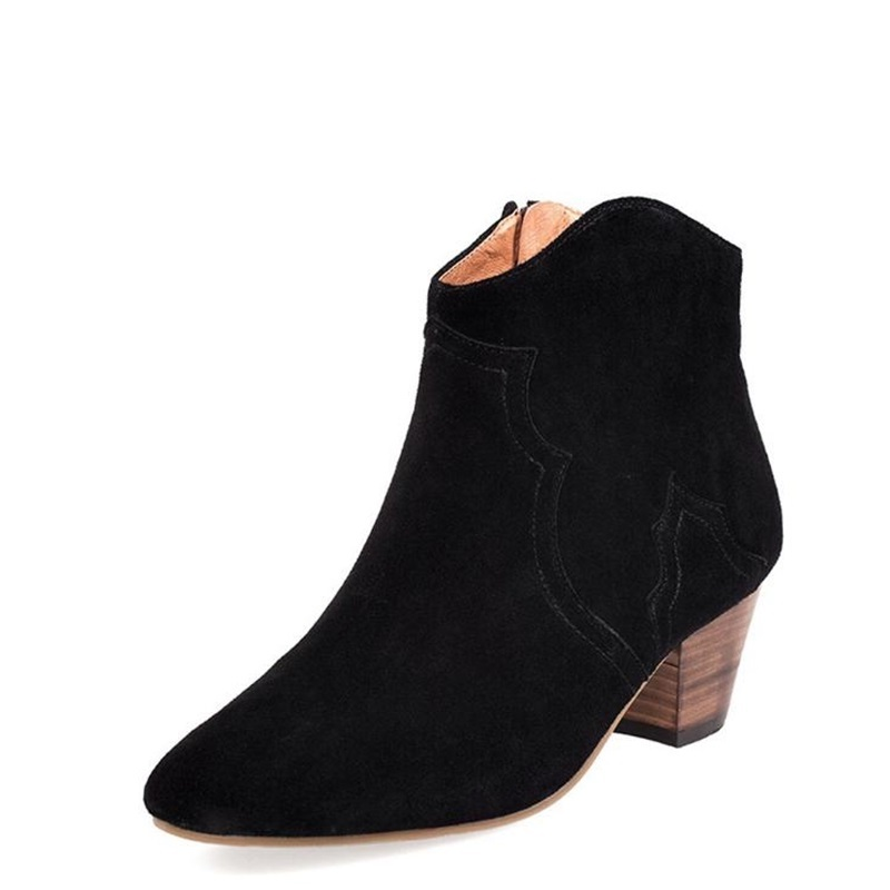 2018 Winter Boots Women Suede Sexy Shallow Boots Top Quality Med heels Ankle Boots Khaki Black Casual Shoes Hot Selling J117 in Ankle Boots from Shoes