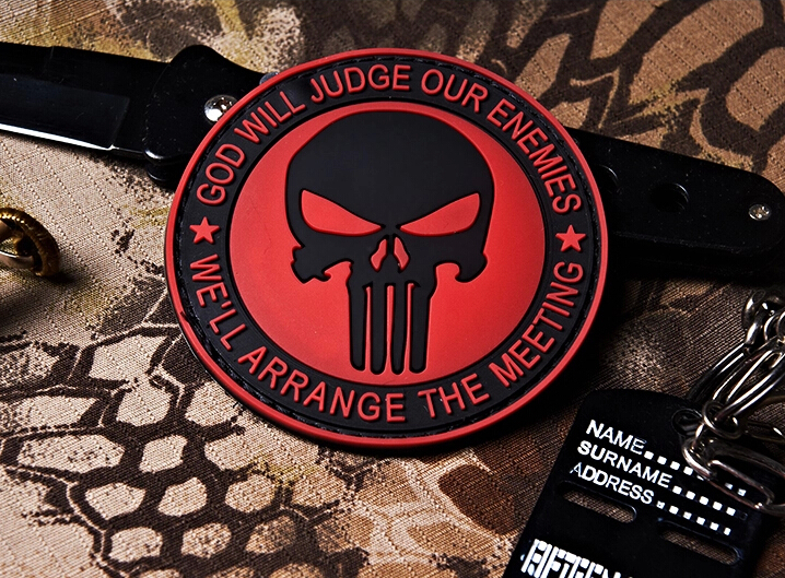 3D PVC PUNISHER SKULL GOD WILL JUDGE OUR ENEMIES GLOW IN DARK RUBBER HOOK PATCH