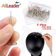 AliLeader, хорошее качество, серебро, 50 шт., Tpins для создания париков/дисплея на пенопластовой головке, 38 мм, Длинные Т-булавки, швейные иглы для волос, инструмент для укладки