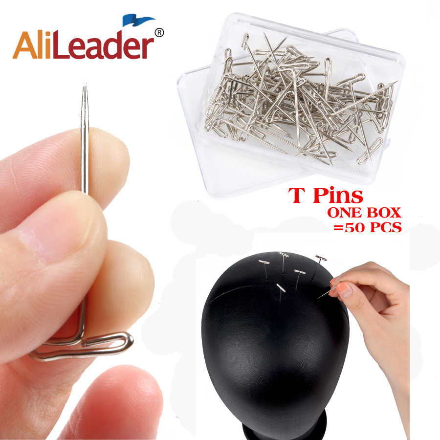 AliLeader Good Quality Silver 50pcs Tpins for Wigs Making/Display On Foam Head 38mm Long T-pins Sewing Hair Needles Styling tool