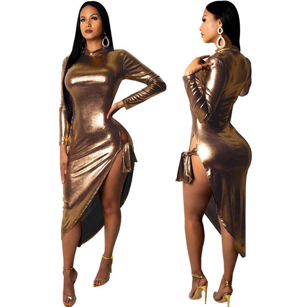 PU Leather Asymmetrical Bodycon Club Dress Turtleneck Long Sleeve Side High  Slit Midi Party Dresses 74c5ab79618f