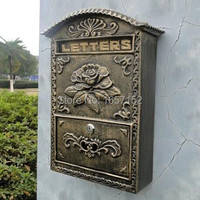 Embossed Trim Decor Bronze Look Home Garden Decorative Wall Mount Mailbox High Quality Wall Mounted Cast