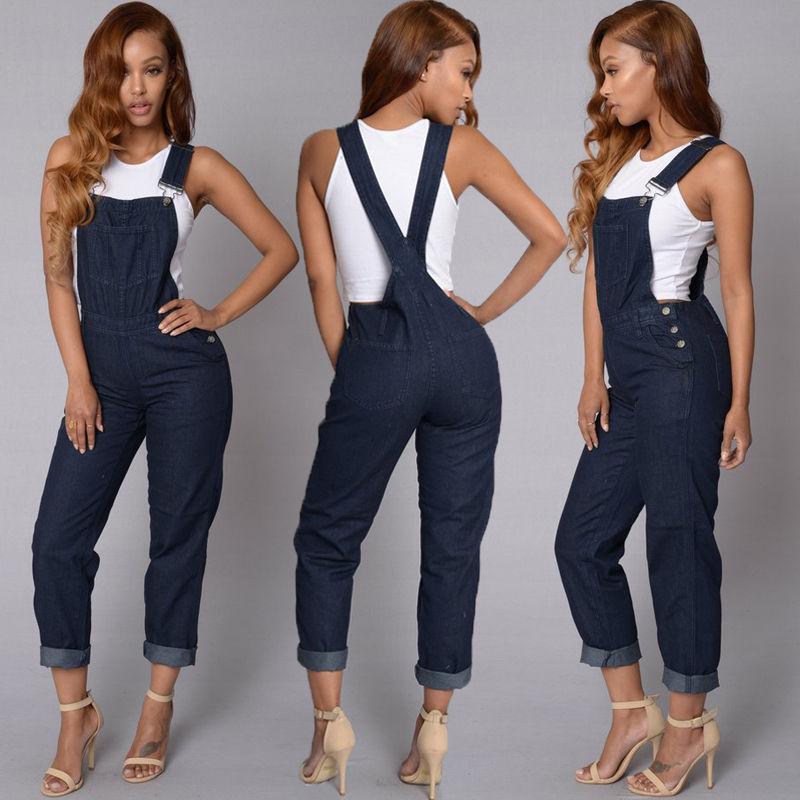 Jumpsuit Bodysuit arrival Women Ladies Baggy  Bib Full Length Pinafore Dungaree Overall Solid Loose Causal Jumpsuit Pants Summer 7
