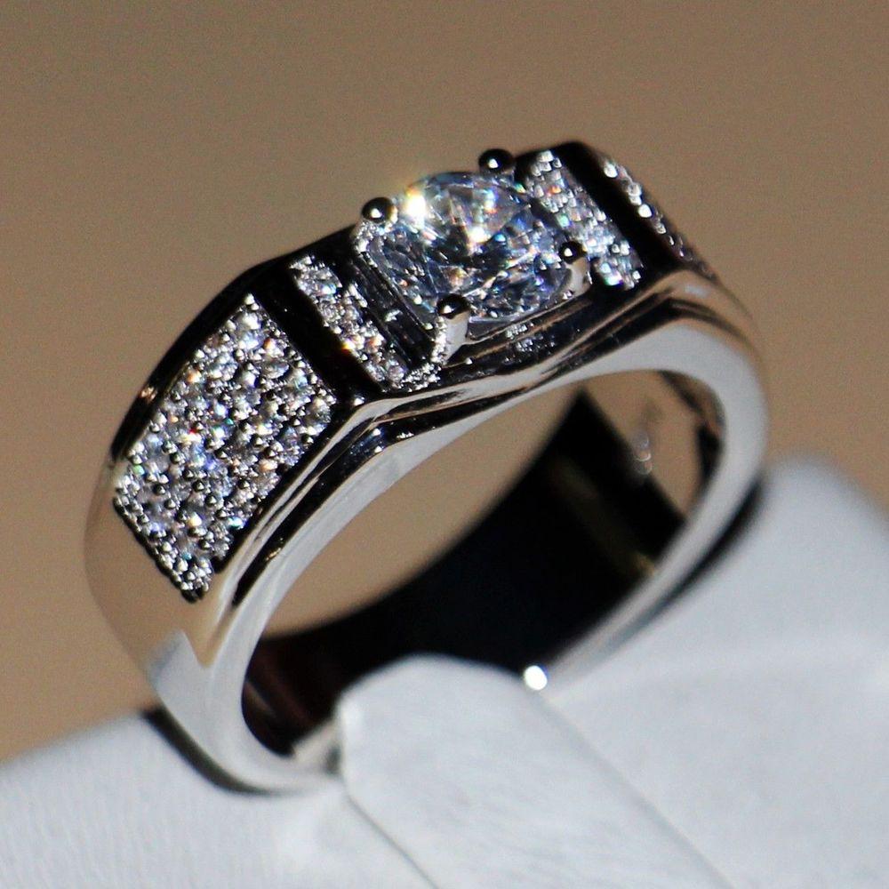 Здесь продается  Size7-13 Victoria Wieck Luxury Jewelry Solitaire 10kt white gold filled Round AAA CZ Simulated stones wedding Men band Ring gift  Ювелирные изделия и часы