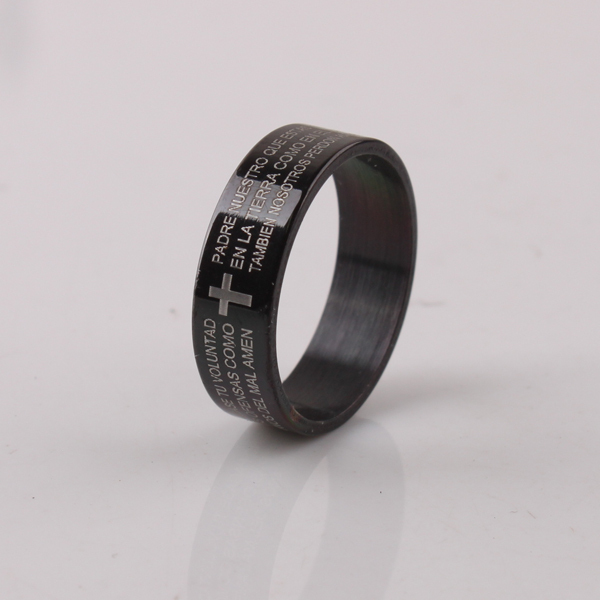 free shipping wide 6mm black Bible cross rings 316L Stainless Steel finger ring men jewelry wholesale