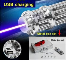 Wholesale prices 017 USB 100w 100000mw high burning match Blue laser pointer USB charging Metal box set include pattern caps lazer torch Hunting