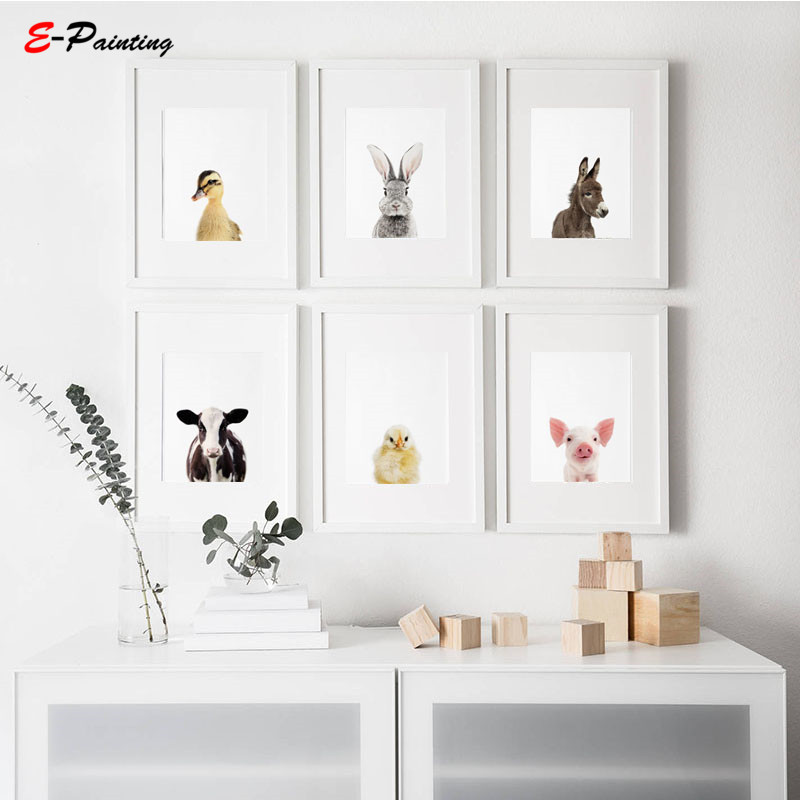 Us 3 55 29 Off Modern Wall Painting Nursery Decor Prints Canvas Print Farm Animals Duckling Bunny Foal Piglet Calf Poster In
