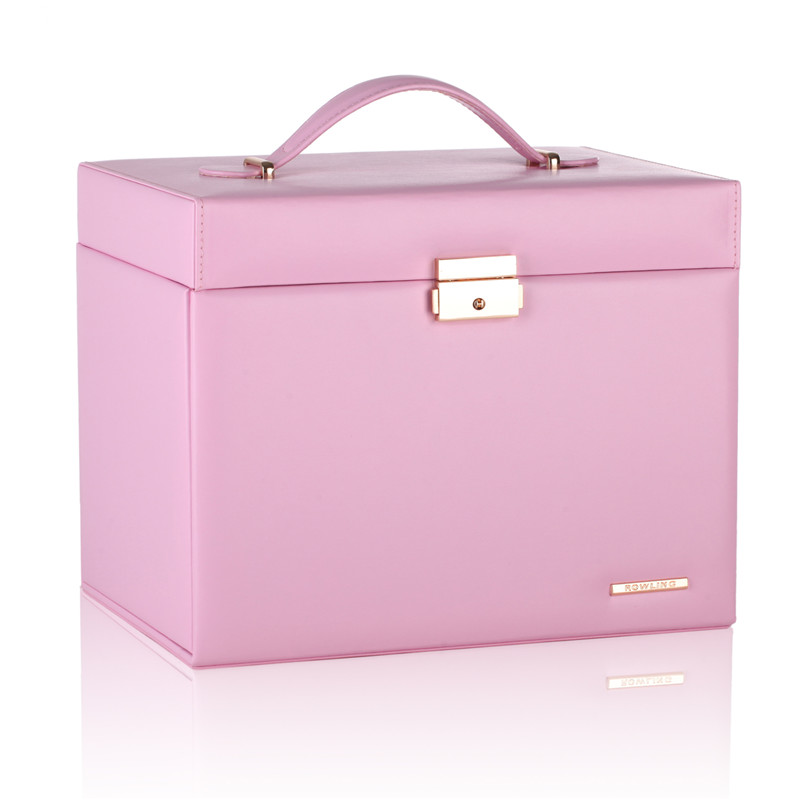 Pink Large Jewelry Box Velvet Organizer Gift Girls Women Necklace Rings Earrings Display Storage Case Mirror