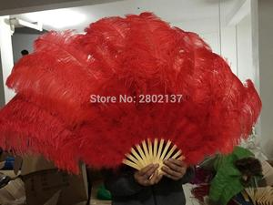 Image 5 - Big Ostrich Feathers Fan With Bamboo Staves for Belly Dance Halloween Party Ornament Decor Necessary, 13 bones