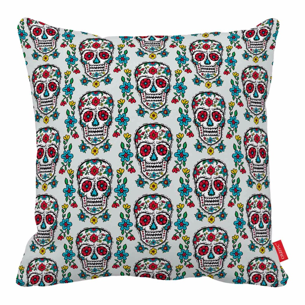 turquoise seamless floral sugar skulls print home decorative throw pillow almofadas decorate pillow sofa chair cushion - Decorative Pillows Cheap