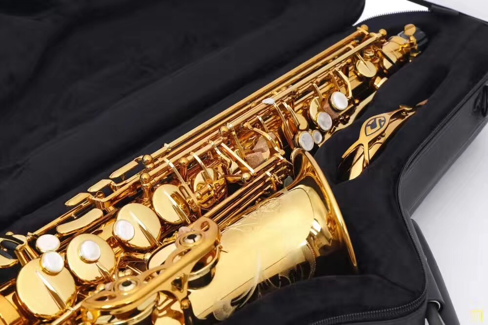 Selmer 802 Gold Lacquer Alto Saxophone Eb Tune Flat Saxofone Brass Music Instruments with Mouthpiece case new 2017 senior french brand conn selmer black lacquer alto saxophone e as 710 matt encarved alto sax with mouthpiece