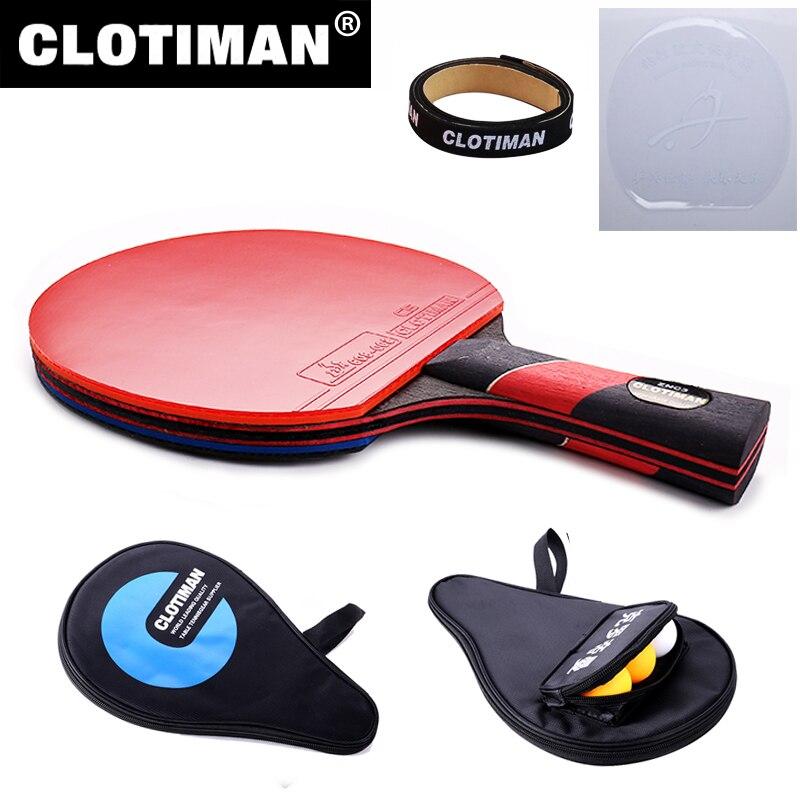 La mejor calidad de carbono bate raqueta de tenis de mesa con goma ping-pong paddle mango corto de tenis de mesa rackt mango largo ofensiva