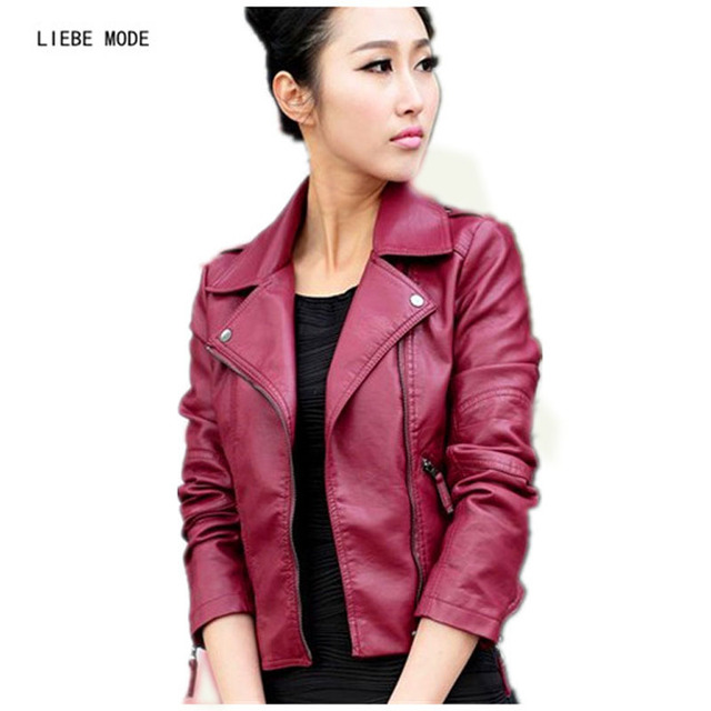 26d8baf10e1 2018 Spring Plus Size PU Leather Jacket Women Red Short Coat Ladies Slim  Water Washed Motorcycle
