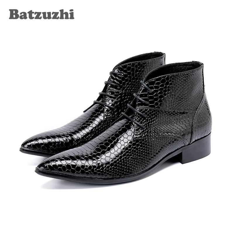 b1ed28db3b8 Batzuzhi Limited Edition 7cm High Heel Men Boots Short Pointed Toe ...