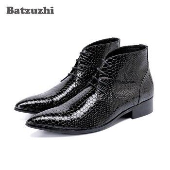 Batzuzhi Korean Type Men Boots Fashion Pointed Toe Men Ankle Boots Botas Hombre Lace-up Dress Boots Business, Party, Pluz Size