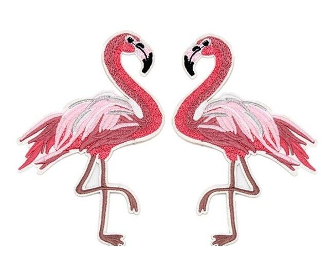 Commercio allingrosso lotto rosa ricamato flamingos uccello