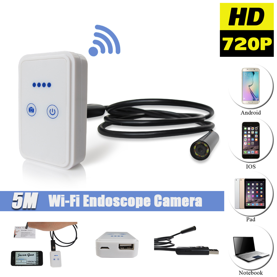 borescope camera for iphone. wireless wifi 9mm 5m endoscope camera ios iphone wi fi usb android borescope inspection waterproof snake cable camera-in surveillance cameras from for p