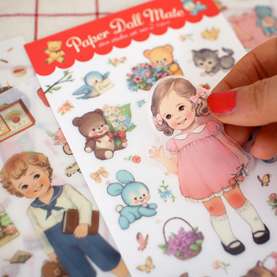 Vintage 6 Sheets /1set  Kawaii Girl Doll Mate Deco  Planner Stickers/scrapbooking Stickers//filofax/Decoration Label/wholesale