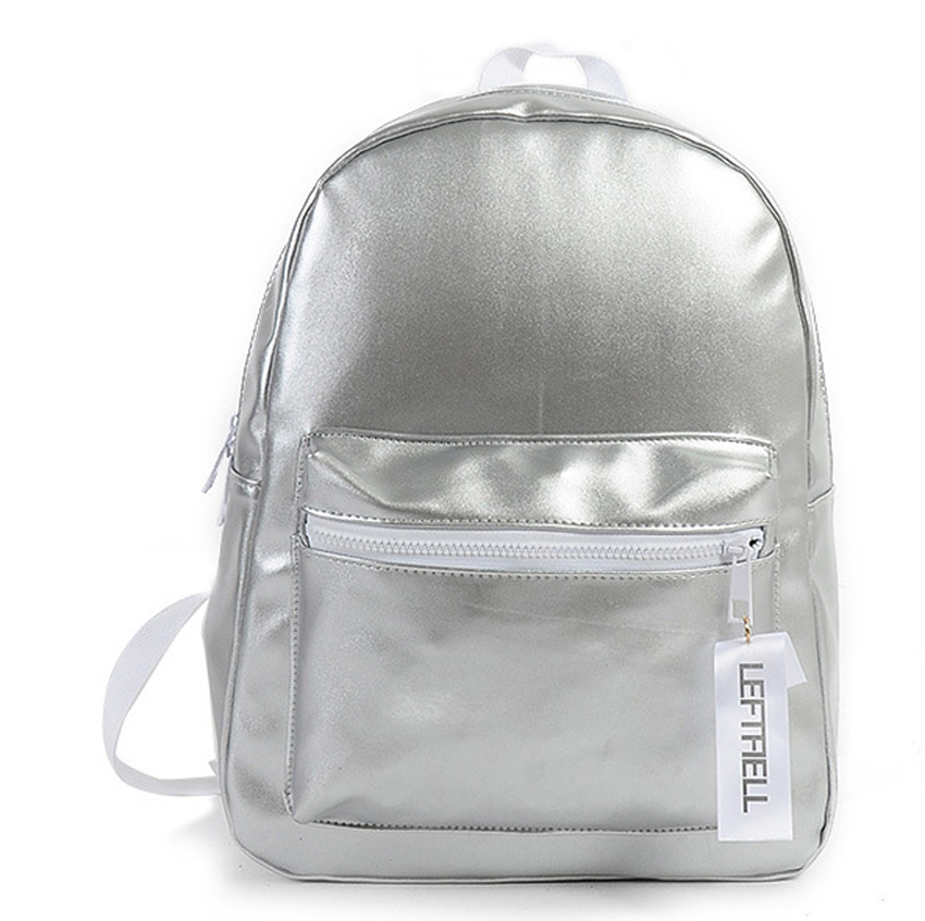silver and pink girl shoulder backpack solid lady daypack shiny pu leather female backpack  (S15-45) vans wm realm backpack pink lady ph