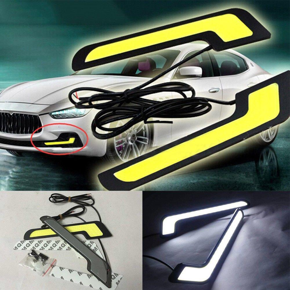 1 Piece 12V Universal Daytime Running Light COB <font><b>LED</b></font> Car Lamp External Lights Auto Waterproof Car Styling Night <font><b>Led</b></font> Lamp image