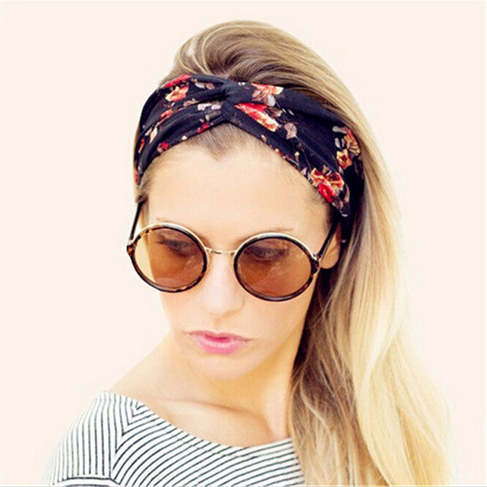 New Style Wide Twisted Cross Knotted Headband For Women Adult Bohemian Print Elastic Turban Hair Band Hair Accessories metting joura vintage bohemian ethnic tribal flower print stone handmade elastic headband hair band design hair accessories